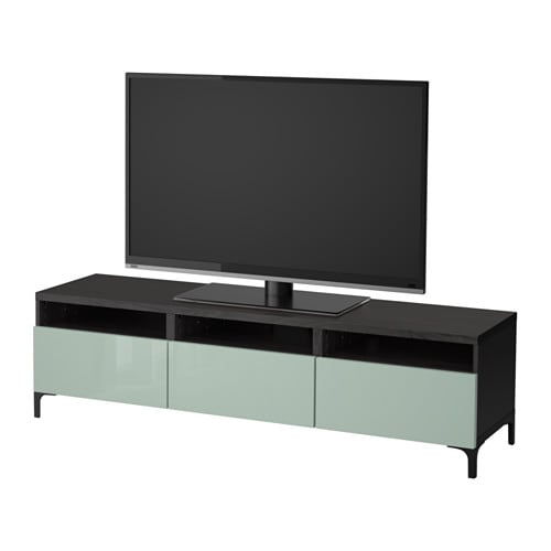 best meuble t l avec tiroirs brun noir selsviken ultrabrillant gris vert clair glissi re. Black Bedroom Furniture Sets. Home Design Ideas