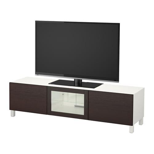 Best meuble t l avec tiroirs et porte blanc inviken verre transparent bru - Meuble tele ikea blanc ...