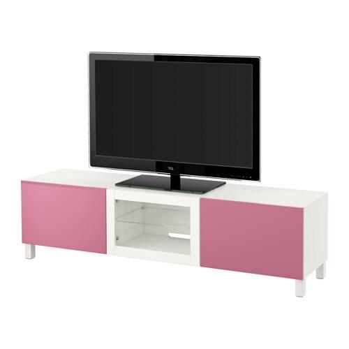 Best meuble t l avec tiroirs et porte lappviken rose for Ikea meuble tele