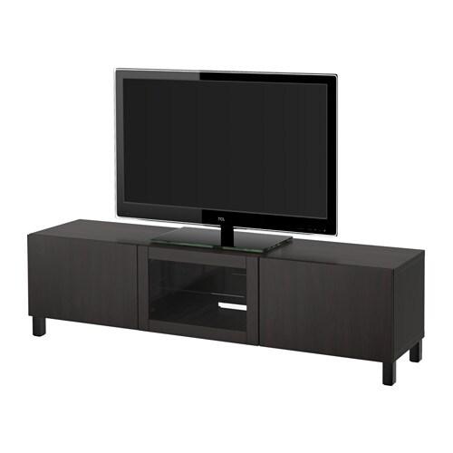 best meuble t l avec tiroirs et porte lappviken verre transparent brun noir glissi re. Black Bedroom Furniture Sets. Home Design Ideas