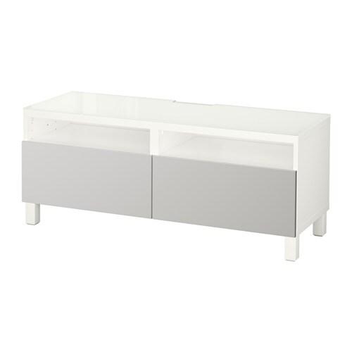 Best meuble t l avec tiroirs blanc lappviken gris - Mueble tele ikea ...