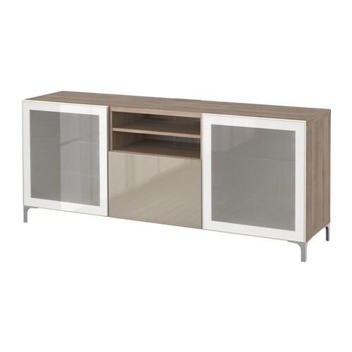 Best meuble t l avec tiroirs effet noyer teint gris for Meuble tele verre