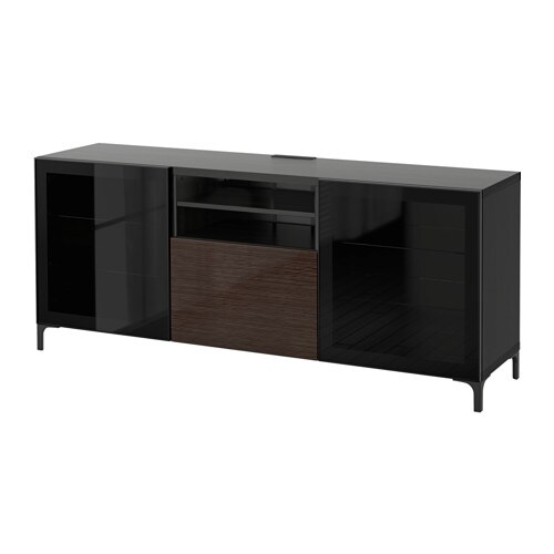 best meuble t l avec tiroirs brun noir selsviken verre transparent brun brillant glissi re. Black Bedroom Furniture Sets. Home Design Ideas