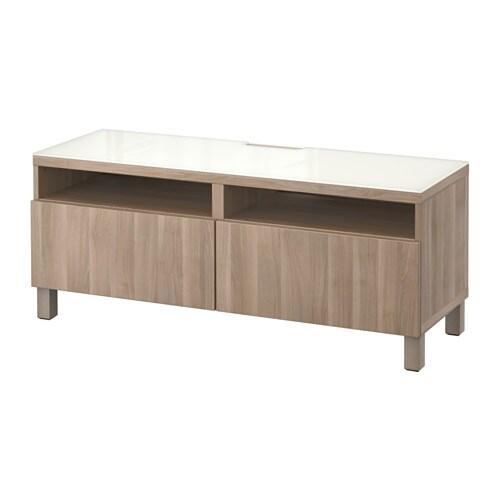 Best meuble t l avec tiroirs lappviken effet noyer teint gris glissi re - Meuble avec panier ikea ...