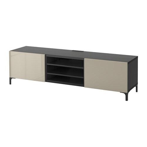 Best meuble t l avec tiroirs brun noir selsviken ultrabrillant beige gli - Meuble avec panier ikea ...