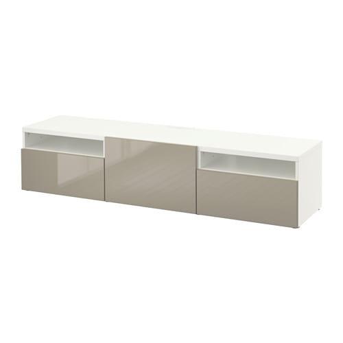 Best meuble t l blanc selsviken ultrabrillant beige glissi re tiroir ou - Meuble tele ikea blanc ...