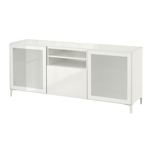 Best meuble t l blanc selsviken verre d poli blanc for Meuble tele verre