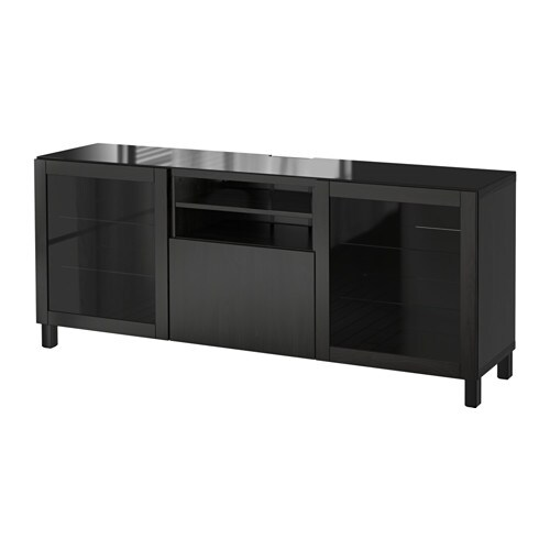best meuble t l lappviken sindvik verre transparent brun noir ikea. Black Bedroom Furniture Sets. Home Design Ideas