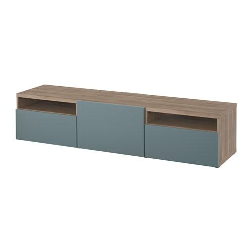Best meuble t l effet noyer teint gris valviken gris turquoise glissi re tiroir ouv par - Ikea meubles tele ...