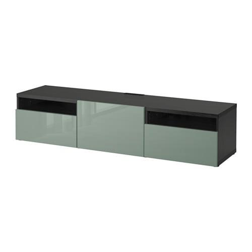 best meuble t l brun noir selsviken ultrabrillant gris vert clair glissi re tiroir. Black Bedroom Furniture Sets. Home Design Ideas