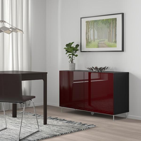 """BESTÅ Rangement à portes, brun-noir Selsviken/Stallarp/ultrabrillant brun-rouge foncé, 47 1/4x16 1/2x29 1/8 """""""