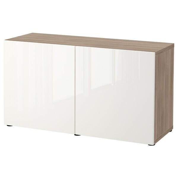"BESTÅ Rangement à portes, effet noyer teinté gris/Selsviken ultrabrillant/blanc, 47 1/4x16 1/2x25 5/8 """