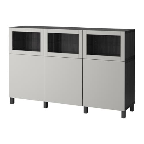 best rangement avec portes brun noir lappviken gris clair verre clair ikea. Black Bedroom Furniture Sets. Home Design Ideas