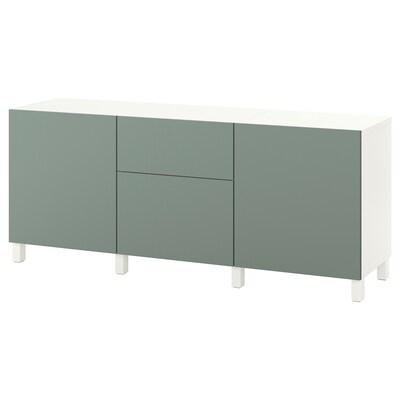 """BESTÅ Rangement avec tiroirs, blanc/Notviken/Stubbarp gris-vert, 70 7/8x16 1/2x29 1/8 """""""