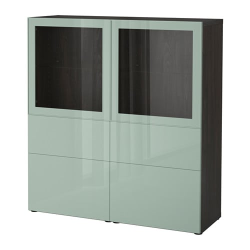 best rangement portes vitr es brun noir selsviken ultrabrillant gris vert clair verre clair. Black Bedroom Furniture Sets. Home Design Ideas