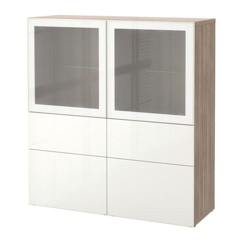 best rangement portes vitr es effet noyer teint gris selsviken verre d poli blanc. Black Bedroom Furniture Sets. Home Design Ideas