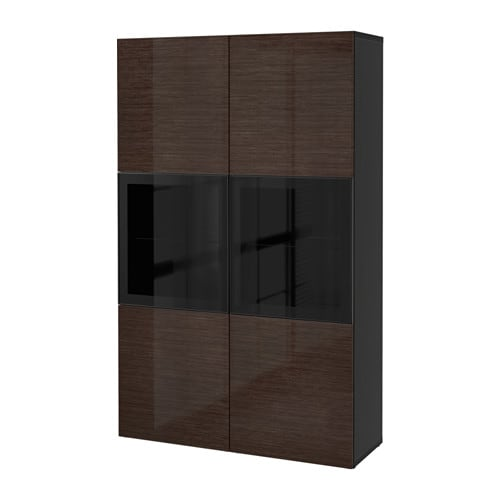best rangement portes vitr es brun noir selsviken verre transparent brun brillant ikea. Black Bedroom Furniture Sets. Home Design Ideas