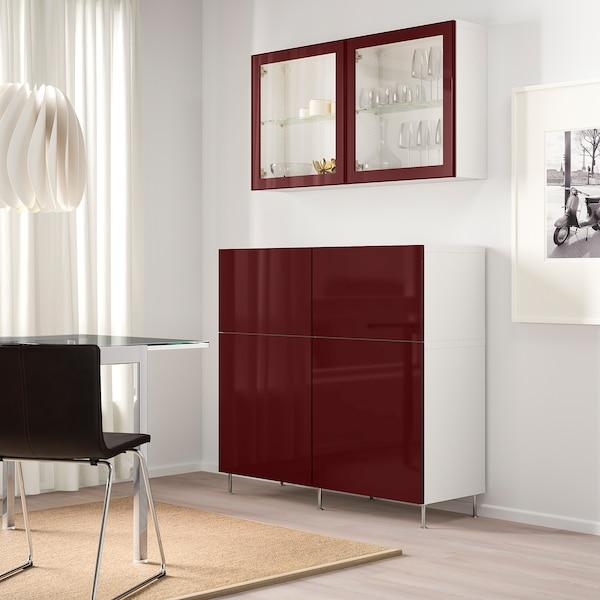 "BESTÅ Rgt portes/tiroirs, blanc Selsviken/Stallarp/brun-rouge foncé verre clair, 47 1/4x16 1/2x94 1/2 """