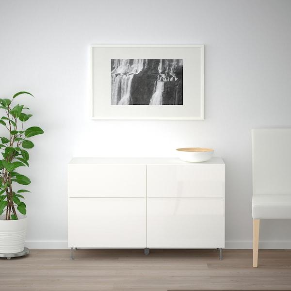 "BESTÅ Rgt portes/tiroirs, blanc/Selsviken/Stallarp ultrabrillant/blanc, 47 1/4x15 3/4x29 1/8 """