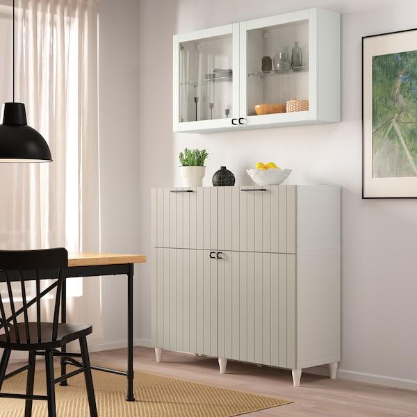 """BESTÅ Rgt portes/tiroirs, blanc Sutterviken/Kabbarp/gris-beige verre clair, 47 1/4x16 1/2x94 1/2 """""""