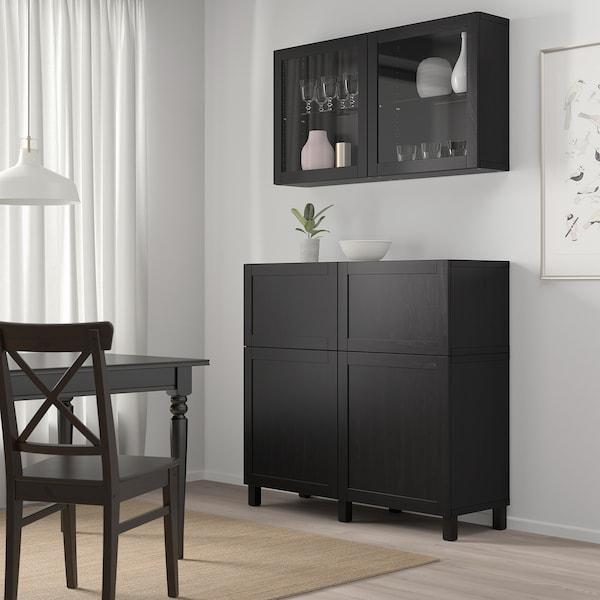 "BESTÅ Rgt portes/tiroirs, brun-noir/Hanviken/Stubbarp verre transparent brun-noir, 47 1/4x16 1/2x94 1/2 """