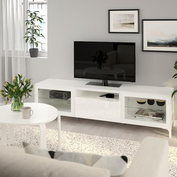 Best meuble t l blanc selsviken verre transparent Ikea meuble tele
