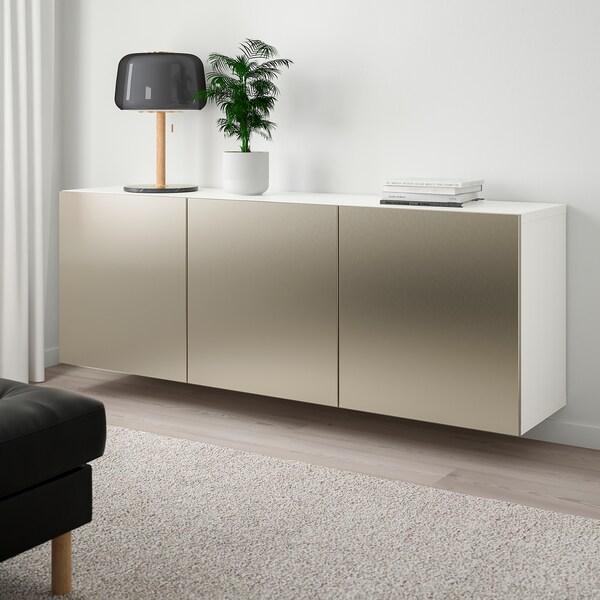 BESTÅ Agencement rangement mural - blanc, Riksviken effet bronze clair - IKEA
