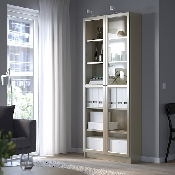 "BILLY Bibliothèque vitrée, gris/effet métallisé, 31 1/2x11 3/4x79 1/2 """