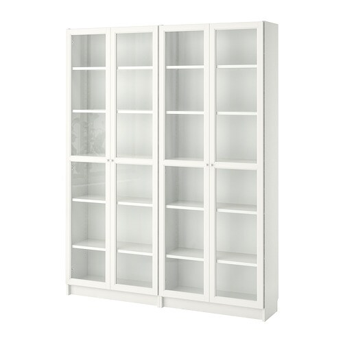 billy oxberg biblioth que blanc verre 160x202x28 cm ikea. Black Bedroom Furniture Sets. Home Design Ideas