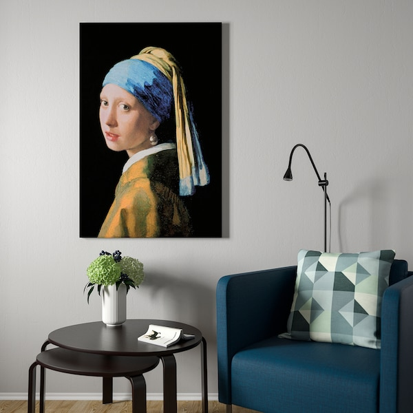 """BJÖRKSTA Reproduction encadrée, La jeune fille à la perle/couleur aluminium, 30 ¾x46 ½ """""""