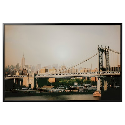 BJÖRKSTA Reproduction encadrée, Pont de Manhattan/noir, 46 ½x30 ¾ ""
