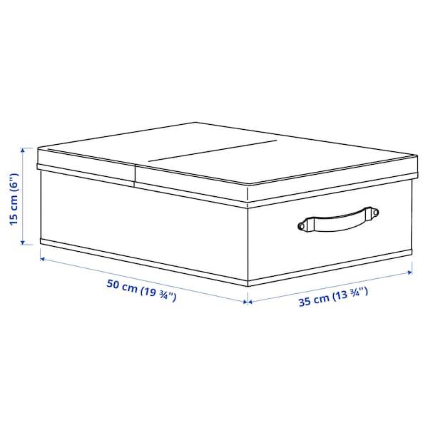 """BLÄDDRARE Boîte avec couvercle, gris/à motifs, 13 ¾x19 ¾x6 """""""