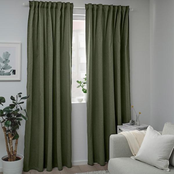 "BLÅHUVA Rideaux opaques, 2 panneaux, vert, 57x98 """