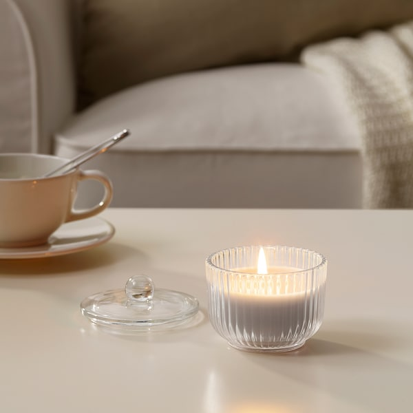 "BLOMDOFT Bougie parfumée en verrine, glaïeul/gris, 3 ½ """
