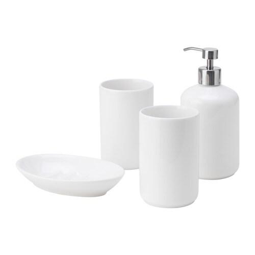 BOASJÖ Accessoires bain, 4 pièces, blanc