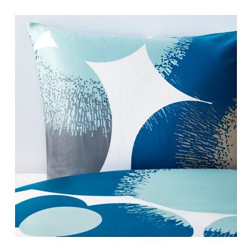 BOLLTISTEL Housse de couette et taie(s), bleu bleu Deux places/grand deux places
