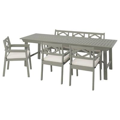 BONDHOLMEN Table+3 ch accoud+banc, extérieur, teinté gris/Frösön/Duvholmen beige