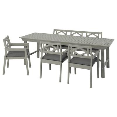 BONDHOLMEN Table+3 ch accoud+banc, extérieur, teinté gris/Frösön/Duvholmen gris foncé