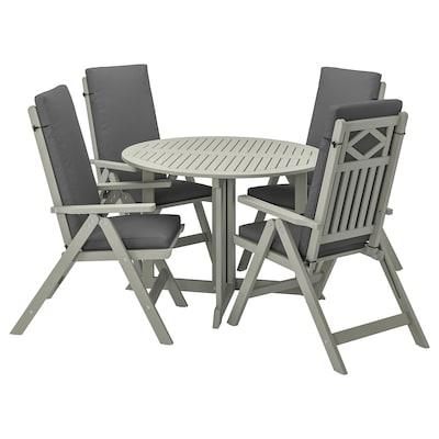 BONDHOLMEN Table+4 chais doss incl, extérieur, teinté gris/Frösön/Duvholmen gris foncé