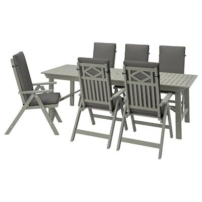 BONDHOLMEN Table+6 chaises doss incl, ext, teinté gris/Frösön/Duvholmen gris foncé