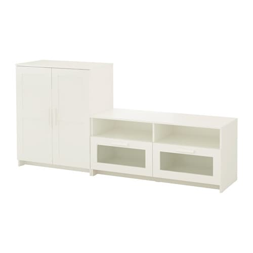 Brimnes agencement meuble t l blanc ikea for Meuble tele but blanc