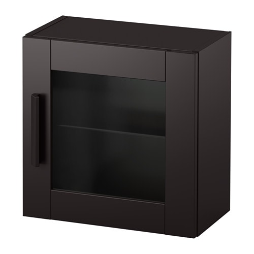brimnes armoire murale porte vitr e noir ikea. Black Bedroom Furniture Sets. Home Design Ideas