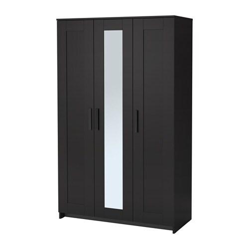 brimnes armoire penderie 3 portes noir ikea. Black Bedroom Furniture Sets. Home Design Ideas