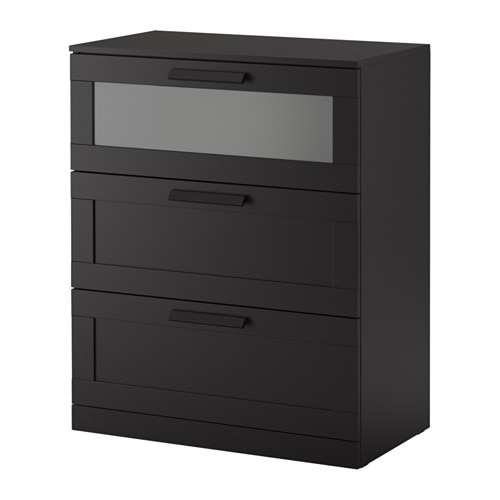 brimnes commode 3 tiroirs noir verre d poli 78x95 cm ikea. Black Bedroom Furniture Sets. Home Design Ideas
