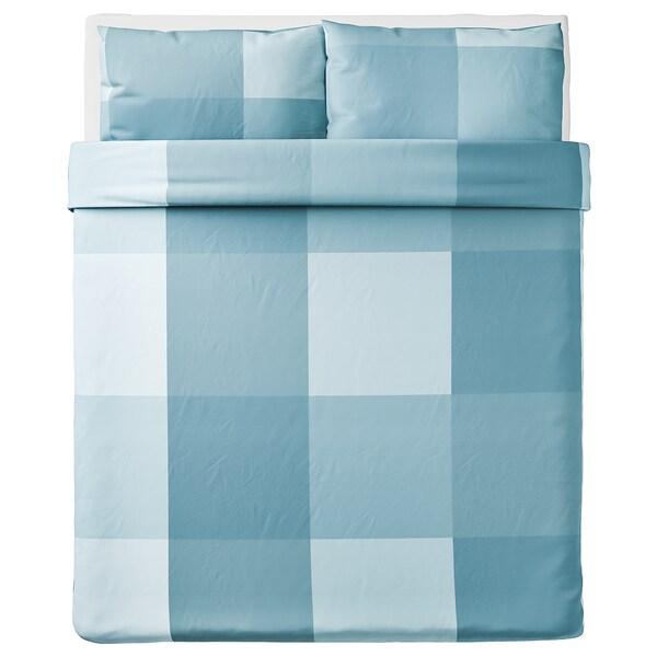 BRUNKRISSLA Housse de couette et taie(s), bleu clair, Deux places/grand deux places