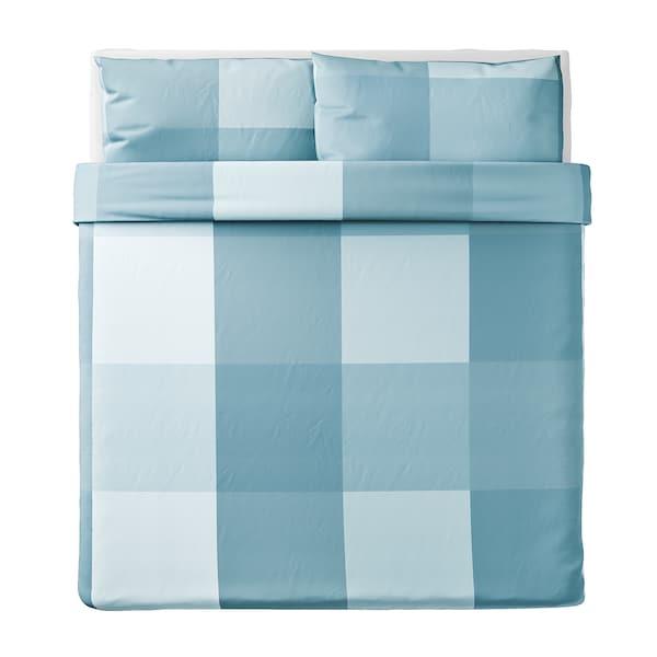 BRUNKRISSLA Housse de couette et taie(s), bleu clair, Très grand deux places
