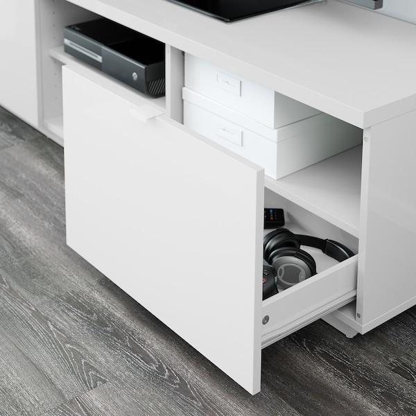 "BYÅS Meuble télé, ultrabrillant blanc, 63x16 1/2x17 3/4 """