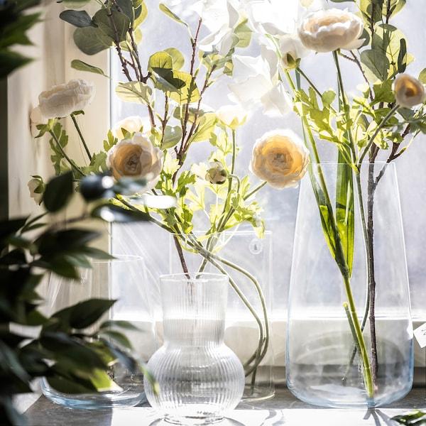 "CHILIFRUKT Vase/arrosoir, verre clair, 8 ¼ """