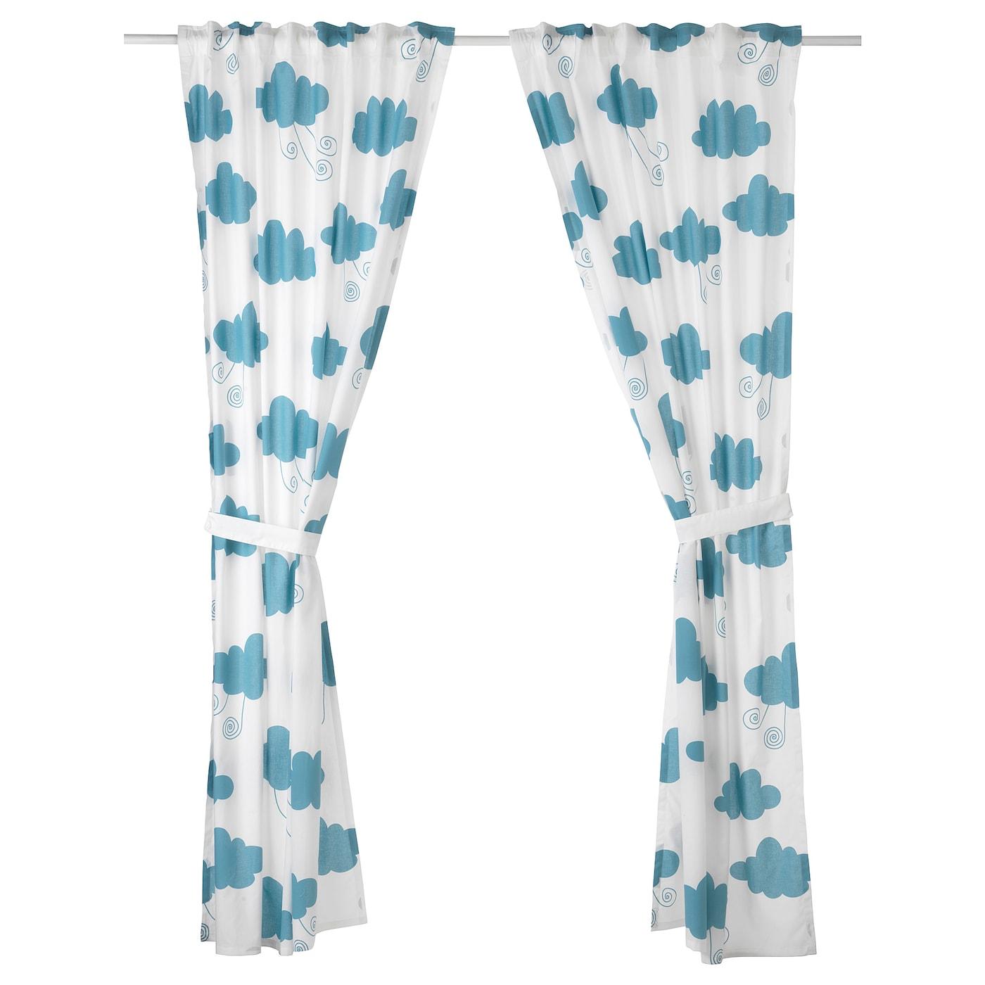 Prince bleu Paire de rideaux de chambre denfant avec embrases