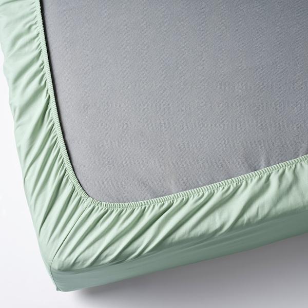 DVALA Drap-housse, vert clair, Une place